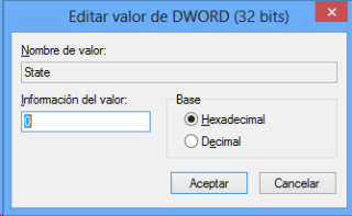 Edición del valor de registro Windows