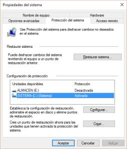 Cómo restaurar el sistema en Windows 10