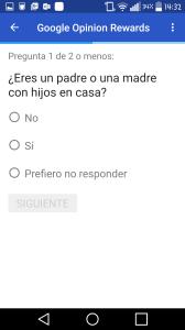 Ejemplo de encuesta de Google Opinion Rewards