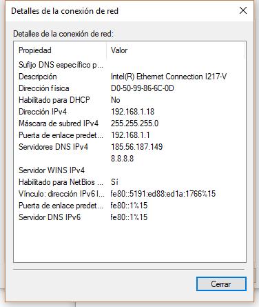 detalles de configuración ip