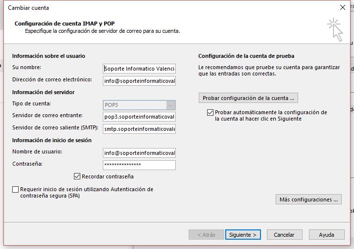 Configurar cuenta pop3