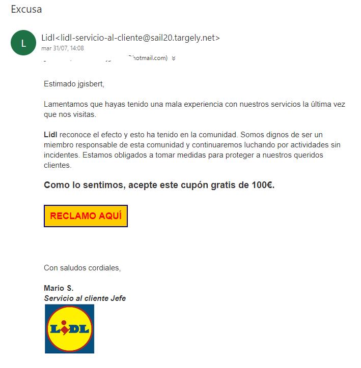 ejemplo de spam