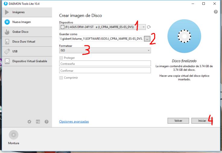 Crear imagen ISO en Windows