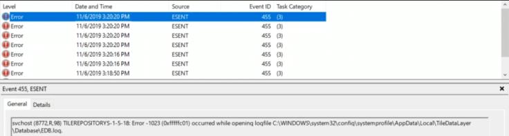 event id 455 ESENT error