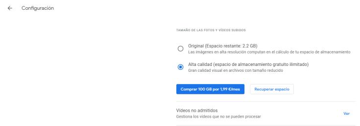 Configuración Google Fotos