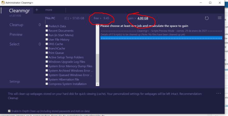 Liberar espacio tras una actualizacion de Windows