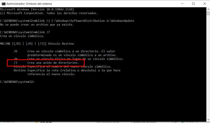 Mover la carpeta de descarga de actualizaciones en Windows 10